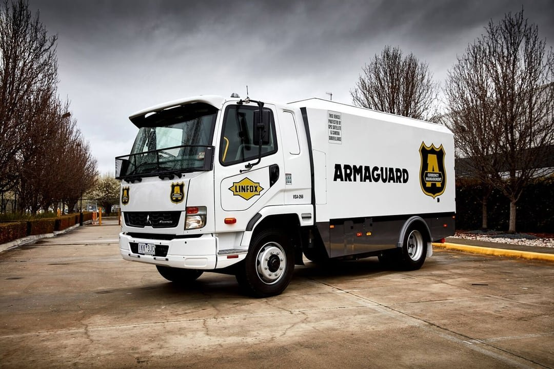 Armaguard truck parked on an angle