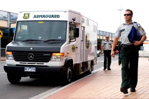 Armaguard crew making cash delivery